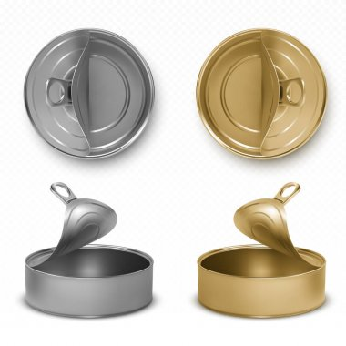 Open tin cans, fish or pet food mockup with pull ring top and front view. Empty gray and yellow canned round open key metal jars, isolated aluminium preserve canisters, Realistic 3d vector icons set icon