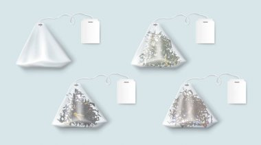 Tea bags with green and black leaves and herbs. Vector realistic set of transparent triangle teabags with blank white tag on string. Empty 3d sachet isolated on blue background icon