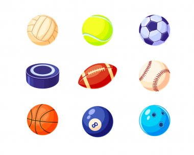 Creative colorful balls flat illustration set. Cartoon hockey, soccer, baseball, basketball, rugby and billiard balls isolated vector illustrations. Sport game equipment concept icon