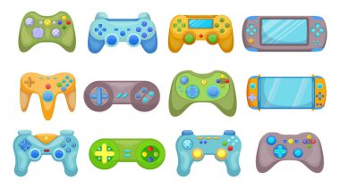 Creative video game controllers flat pictures set for web design. Cartoon joysticks, consoles and gamepads for gamer isolated vector illustrations. Digital technology and gadgets concept icon