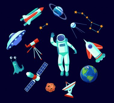 Trendy space elements flat pictures collection. Cartoon astronaut, UFO, alien, satellite, planets and stars isolated on white background vector illustrations. Galaxy and astronomy concept icon
