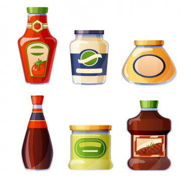 Sauces and dressings in glass bottles isolated on white background. Ketchup, mayonnaise, mustard and soy seasoning in package. Vector cartoon set of different sauces in jars with blank labels icon