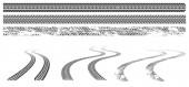 Schwarze Autoreifenspuren, Gummiradabdrücke auf der Straße oder Schmutz. Grunge-Wickelspuren aus Autoreifen isoliert auf weißem Hintergrund. Vektor-grafische Reihe von Trittmarken in der Draufsicht und Perspektivansicht
