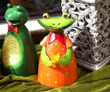 Handcrafted Frogs on display