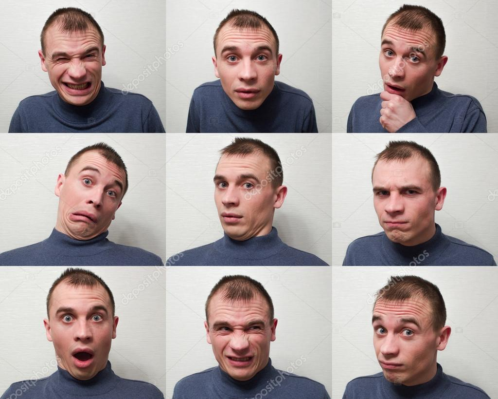 Man expressing different emotions ⬇ Stock Photo, Image by