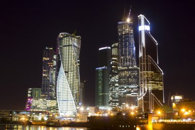 Moscow City, Night, Winter, Moscow, Russia