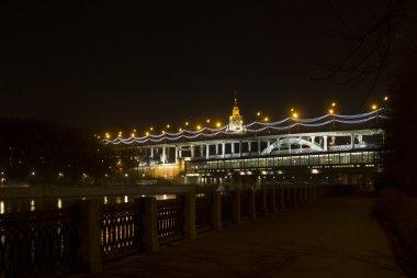 Luzhnetsky metro bridge, Moscow State University, panorama of Moscow, Russia