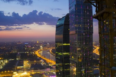 View of Moscow from the roof of a skyscraper and buildings