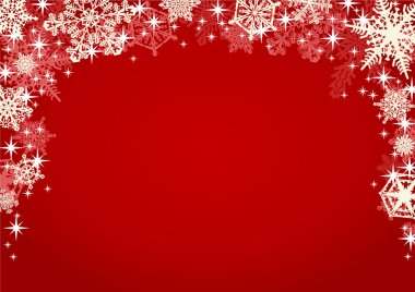 Snowflakes and Sparkling Glitters in Red Background