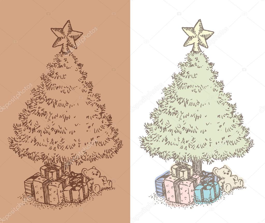 hand gezogene jahrgang weihnachtsbaum zeichnen. Black Bedroom Furniture Sets. Home Design Ideas