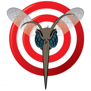 Nature, Mosquito with stilt sights signal or target, Front head. Ideal for informational and institutional related sanitation and care