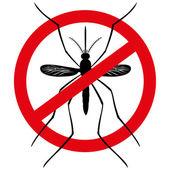 Příroda, silueta, které komáry na chůdách s zakázané znamení, pohled shora. Ideální pro informační a institucionální související hygieny a péče o