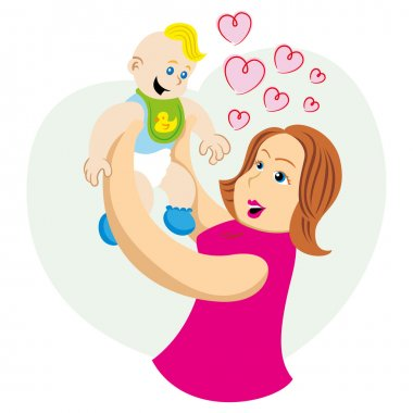 Mother lifting and playing with her baby. Ideal for catalogs, informative and pregnancy guides.