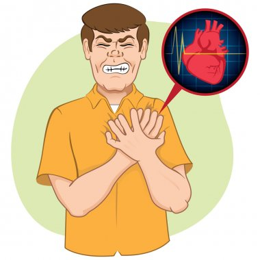 Illustration is first aid person suffering a heart attack, CPR. Ideal for relief tutorials and medical manuals