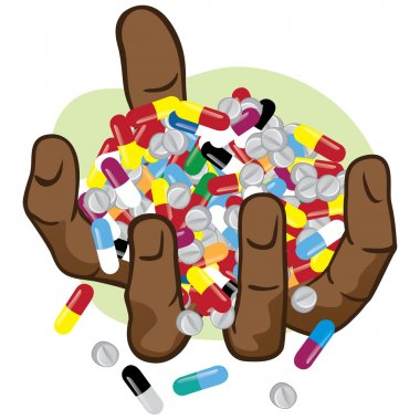 Illustration of hands holding many medicines African descent. Ideal for catalogs, informational and institutional material