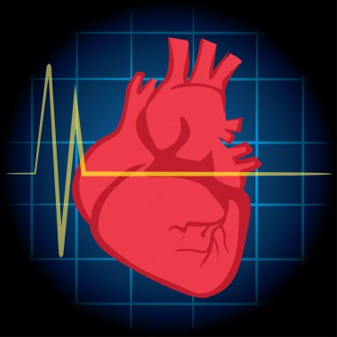 Illustration is first aid, icon heart, heart attack, CPR. Ideal for relief tutorials and medical manuals