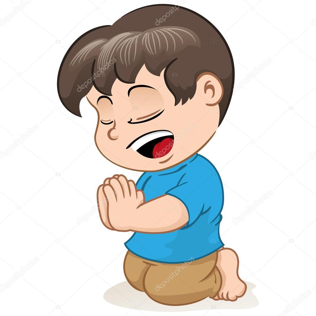 Niños Orando De Rodillas Ilustración De Un Niño Meditando Y Orando