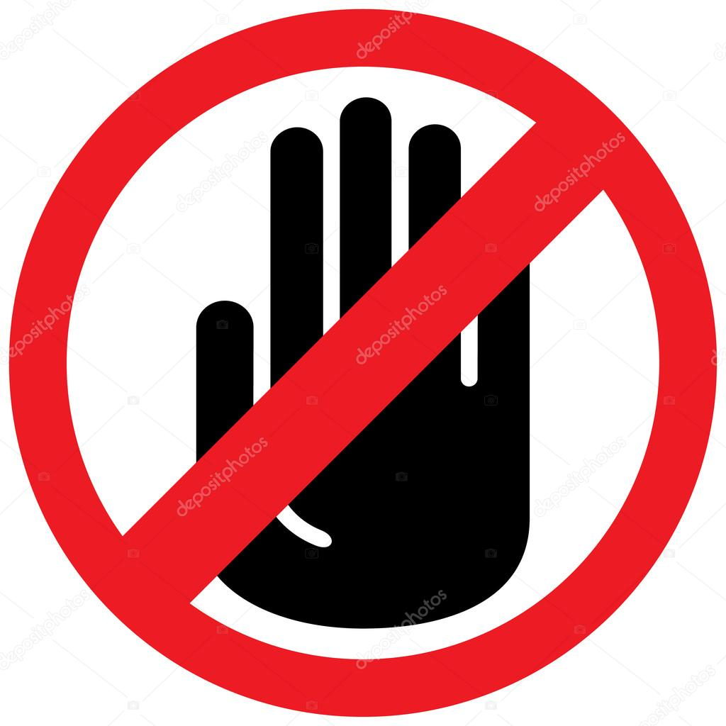 icon sign board forbidden to touch do not take ideal