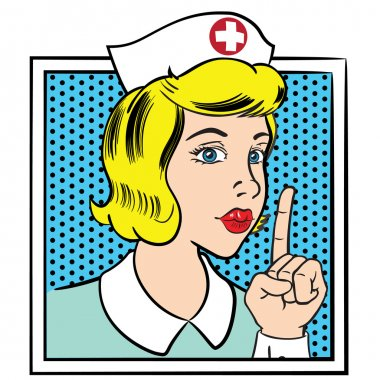 Illustration representing nurse woman making silence sign, pop art style. Ideal for catalogs, information and medical guides