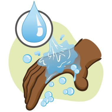 Illustration of afrodescendant person washing hands hygiene and cleanliness. Ideal for educational material and institutional