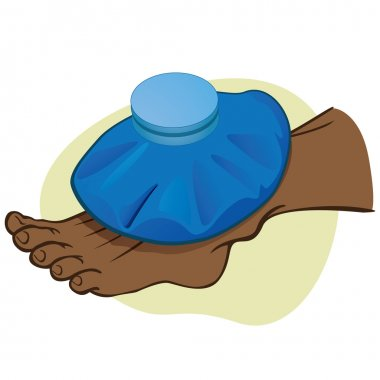 Illustration First Aid person afrodescendant, the foot with thermal bag. Ideal for catalogs, information and medical guides