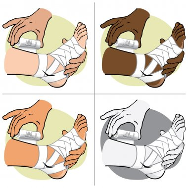 Illustration First Aid person ethnic, standing side view, bandaging the foot. Ideal for catalogs, information and medical guides