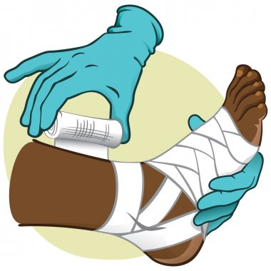 Illustration First Aid person african-descendant, standing side view, bandaging the feet, hands with gloves. Ideal for catalogs, information and medical guides