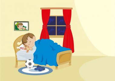 Illustration representing a child sleeping peacefully in his room on his bed
