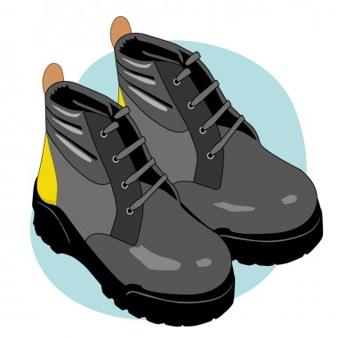 Illustration representing an insulating leather boot safety equipment