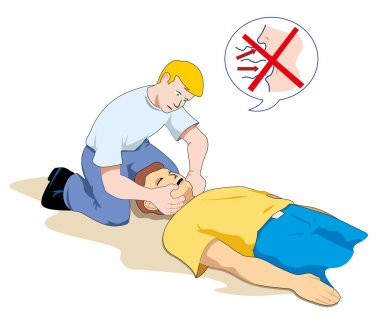 This scene shows a first aid person providing assistance to another person unconscious