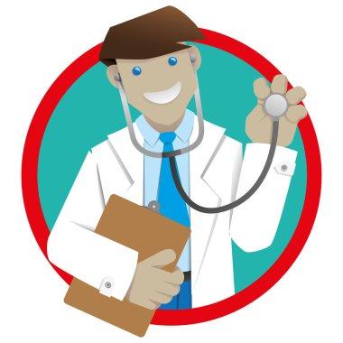 Man coat, doctor or pharmacist botton