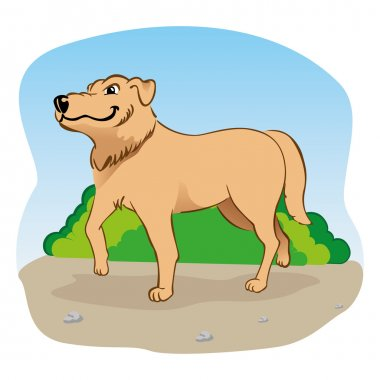 Illustration representing a Labrador dog walking in the park.