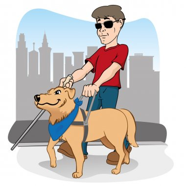 Illustration is led by disabled person walking a guide dog.