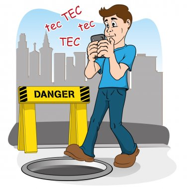 Inattentive person walking by smart phone. running the risk of falling in the hole