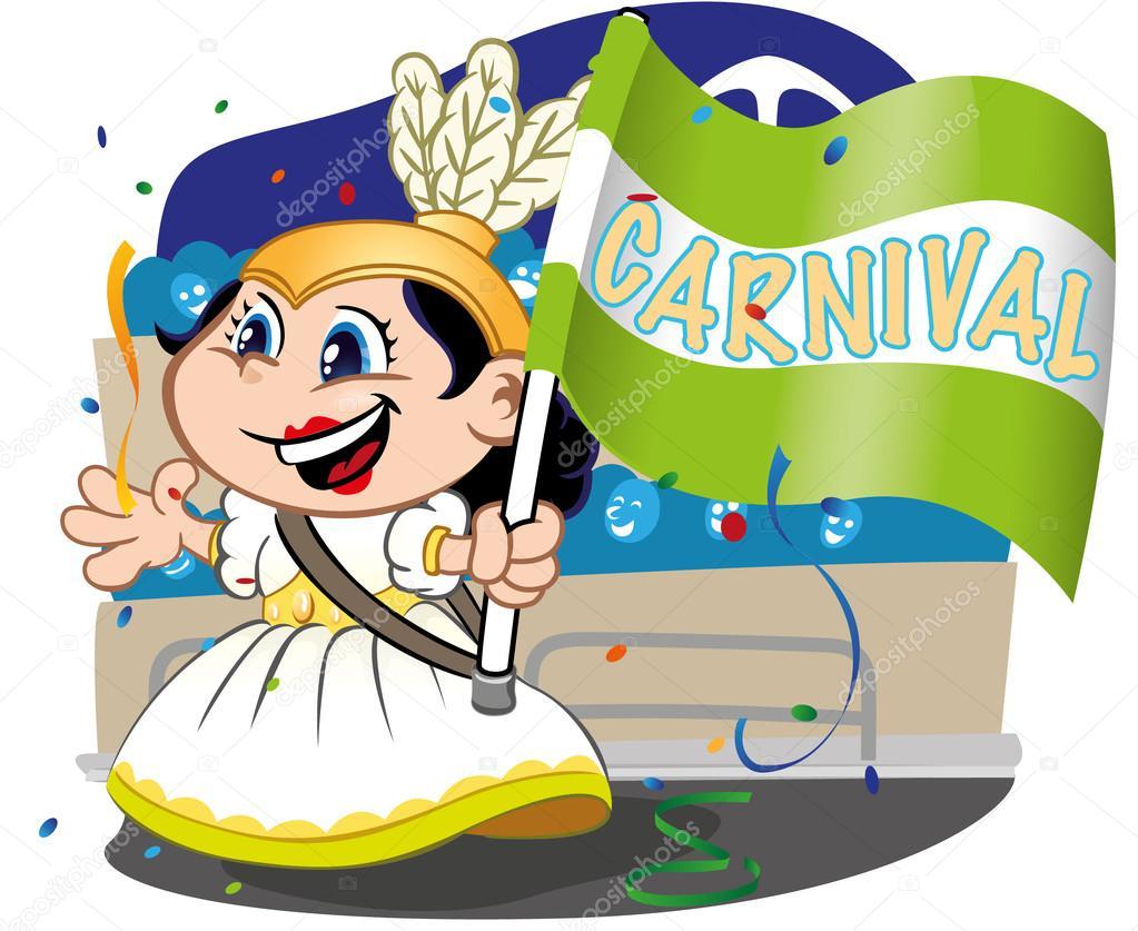 Carnival parade, child door samba school flag