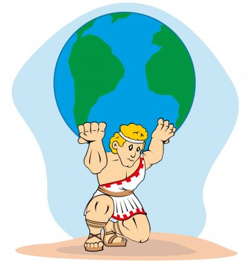 Illustration is a mythology, Titan Atlas carrying the world on his back. Ideal for concept of Greek culture and weight.