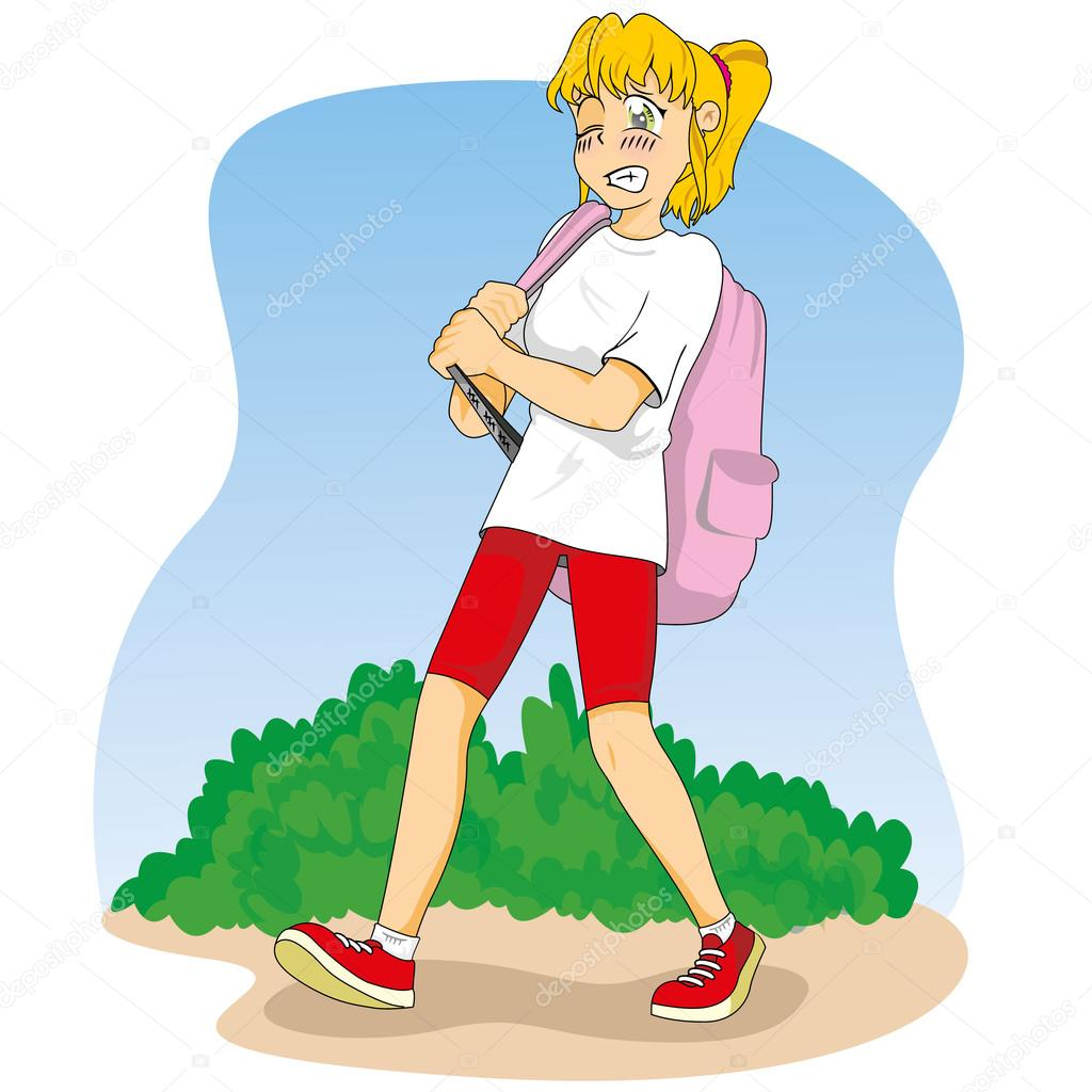 Illustration representing a student girl walking and carrying heavy backpack. Suitable for educational and institutional materials