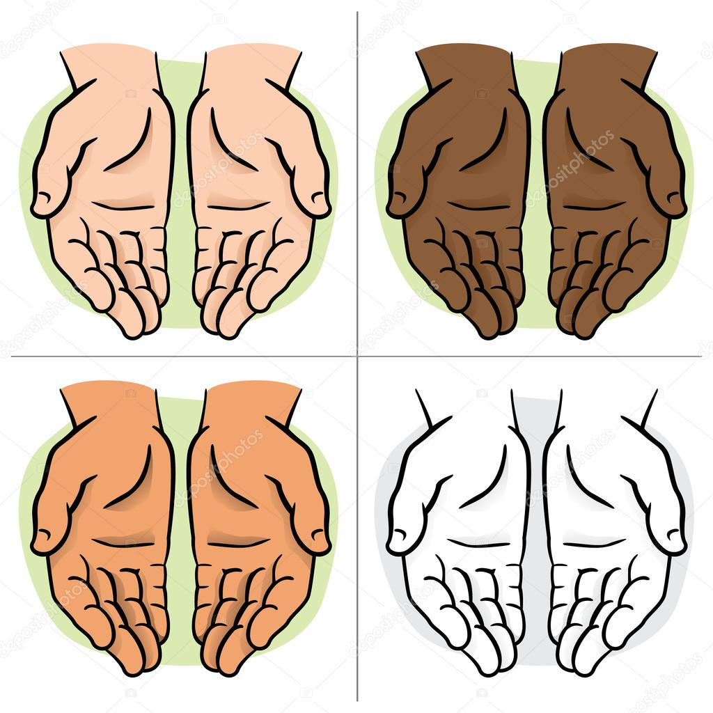 Character pair of hands with exposed palm, request or donation. Ideal for informational and institutional