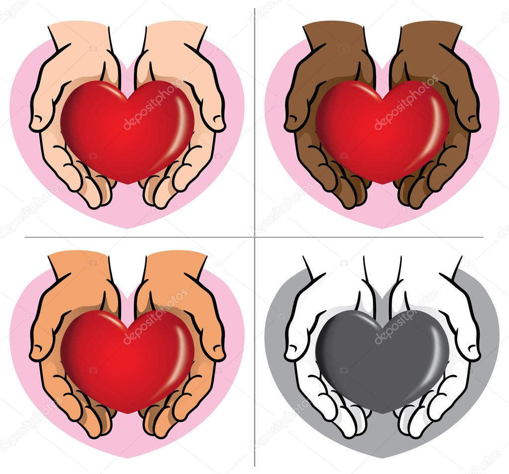 Character pair of hands holding a heart, ethnicities. Ideal for informational and institutional.