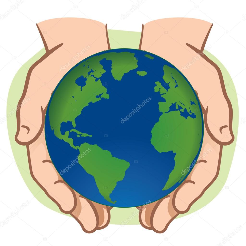 Character pair of hands holding the planet Earth. Ideal for informational and institutional.