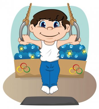 Illustration represents a child athlete doing gymnastics artistic in the rings, sports, games or competition, ideal for educational, sports and institutional materials