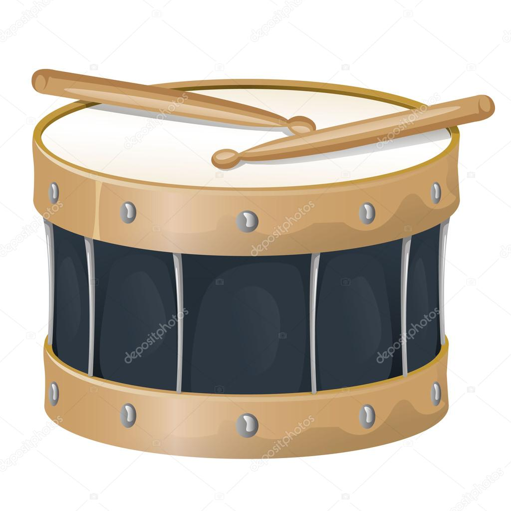 Illustration is an object musical instrument, drum and drumsticks, ideal for educational support materials and institutional