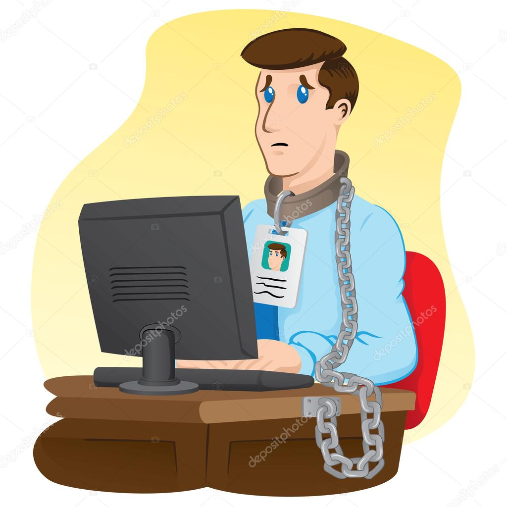 Illustration representing executive officer trapped chained to your desk. Ideal for institutional and administrative materials