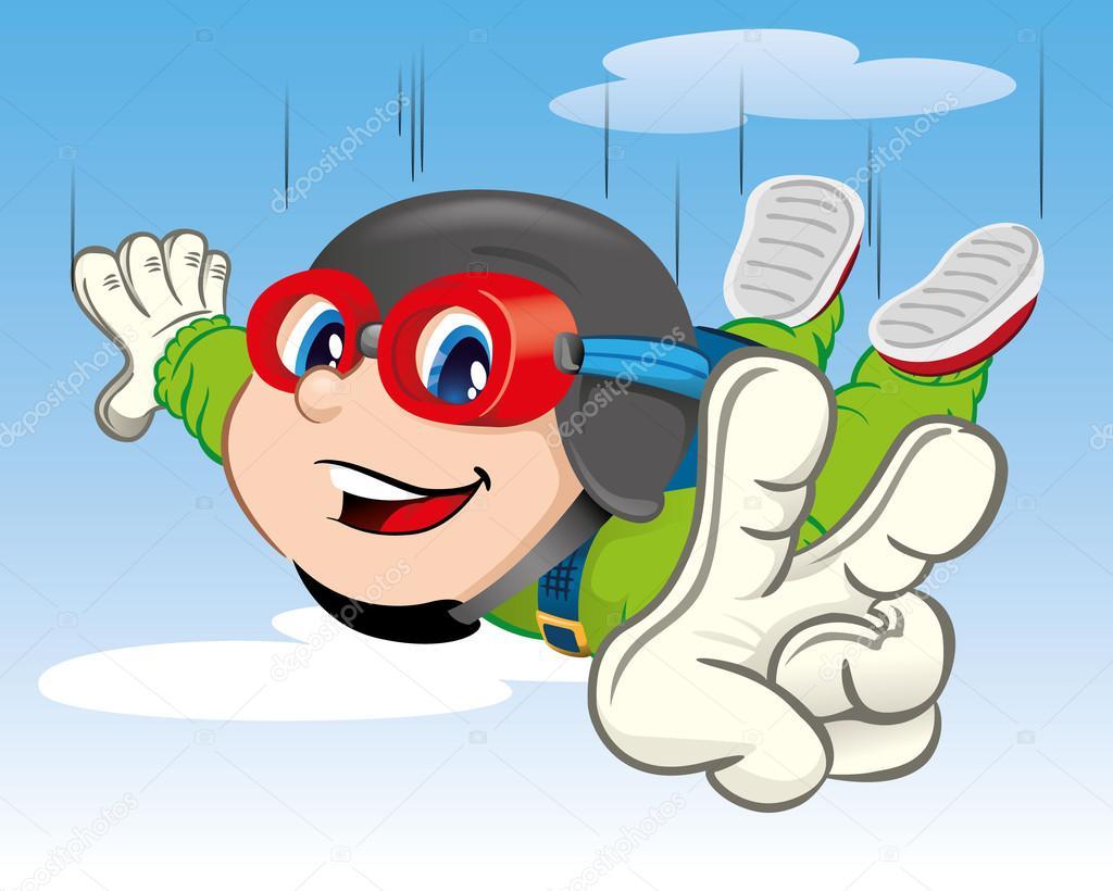 Ilustracao Representa Uma Crianca Menino Saltando De Paraquedas