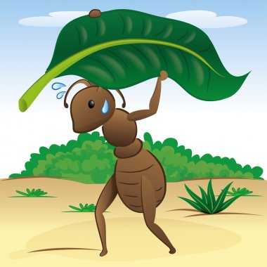 Illustration representing a landscape of nature ant carrying a leaf. Ideal for children's books and institutional material