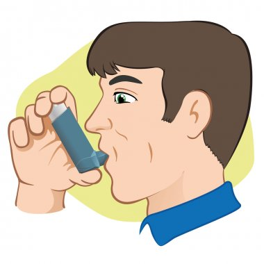 Illustration of a person using inhaler for asthma and lack and public areas. Ideal for catalogs, informative and medical guides