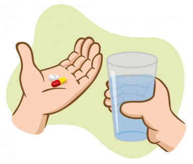 Illustration First Aid hands holding medicine pills with glass of water. Ideal for catalogs, informative and medical guides