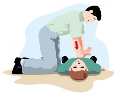 First Aid resuscitation (CPR), massage compression of the rib cage chest resuscitation. Ideal for training materials, catalogs and institutional stock vector