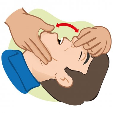 Illustration First Aid person opening the mouth clearing airway. Ideal for catalogs, informative and medical guides