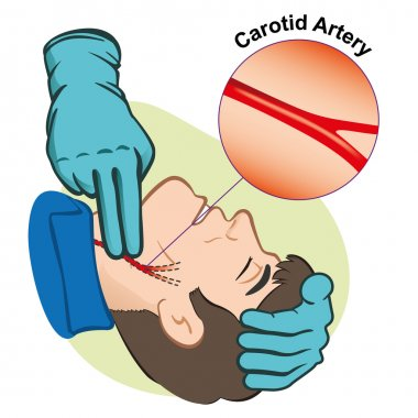 First Aid illustration person measuring pulse through the carotid artery with gloves. Ideal for catalogs, informative and medical guides stock vector